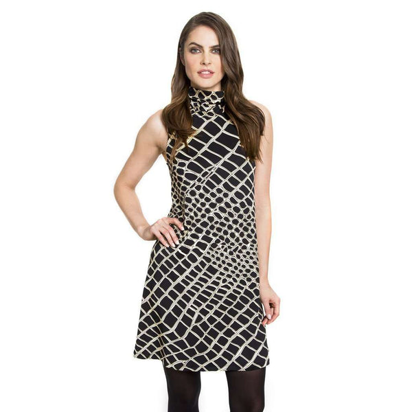 Dresses - Maxie Alligator Print Dress In Black & Tan By Julie Brown - FINAL SALE