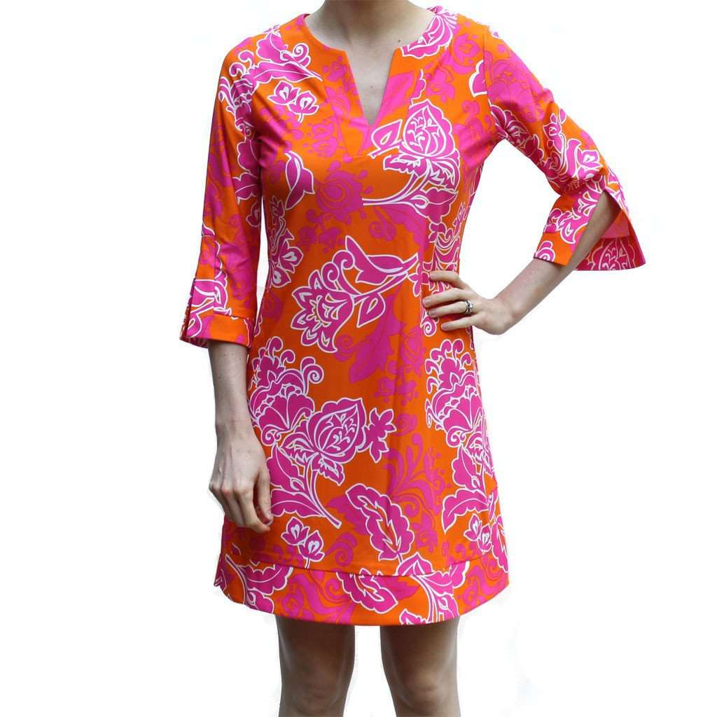 Dresses - Megan Tunic Dress In Etched Floral Coral By Jude Connally