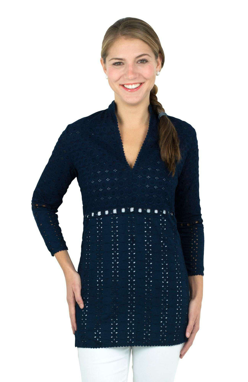 Dresses - Mixed Eyelet Tunic In Navy By Gretchen Scott Designs - FINAL SALE