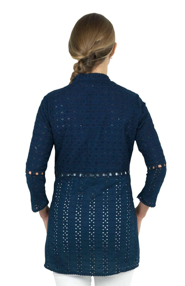 Mixed Eyelet Tunic in Navy by Gretchen Scott Designs - FINAL SALE