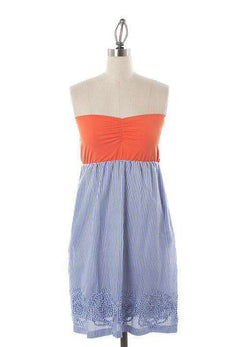 Dresses - Orange-tube-top-dress-with-blue-and-white-stripe-rosette-skirt-by-judith-march - FINAL SALE