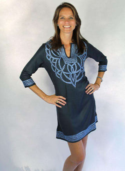 Dresses - Pashmina Viscose Cortina Dress In Charcoal With Blue By Gretchen Scott Designs - FINAL SALE