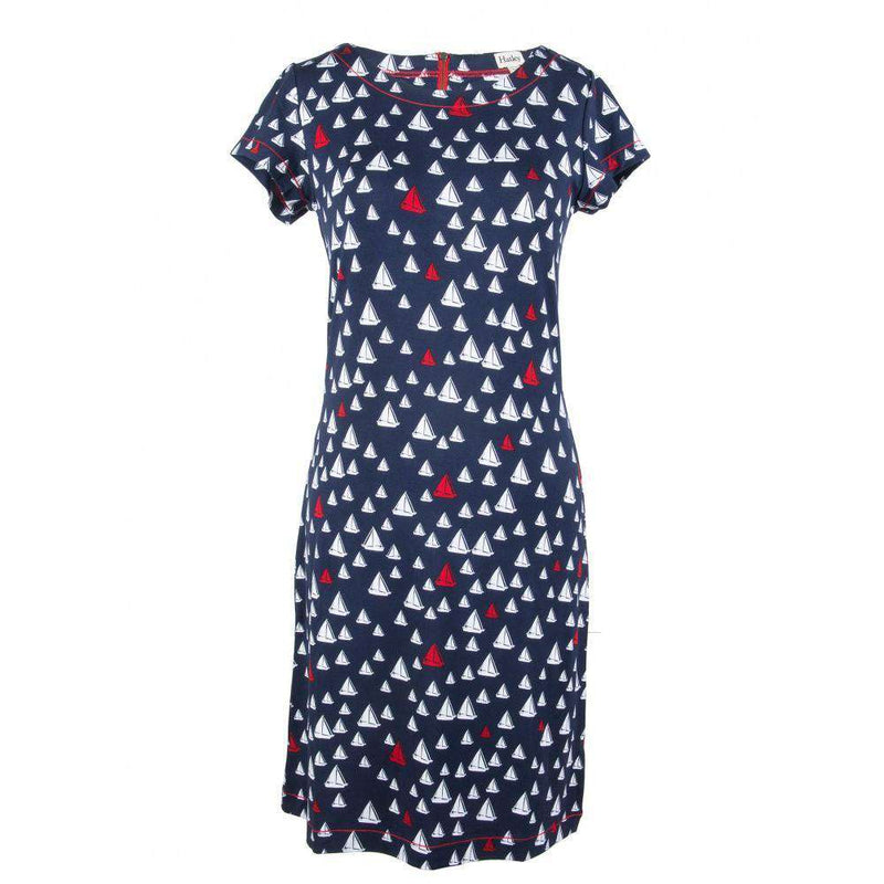 Dresses - Sailboats Tee Shirt Dress In Navy By Hatley - FINAL SALE