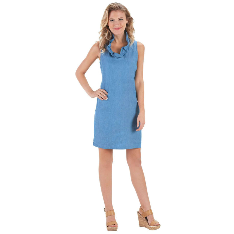 Sailor Chambray Ruffle Dress in Blue by Mud Pie
