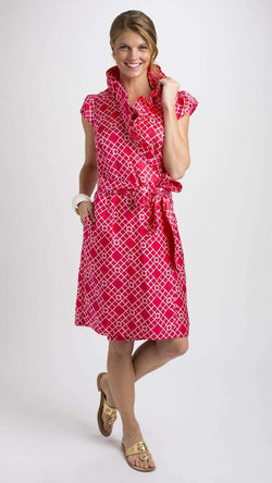 Dresses - Scotland Dress In Pink Silk Bamboo Lattice By Elizabeth McKay - FINAL SALE