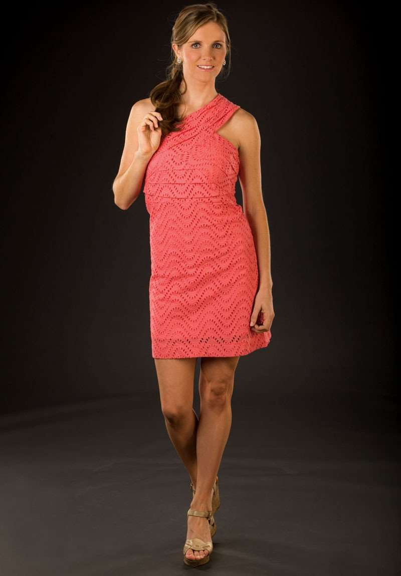 Dresses - Serena Eyelet Dress In Coral By Tracy Negoshian - FINAL SALE
