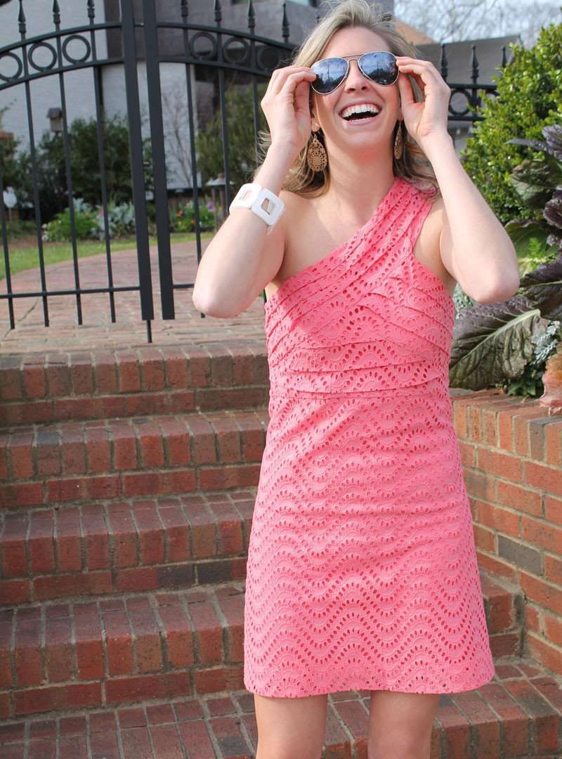 Serena Eyelet Dress in Coral by Tracy Negoshian - Country Club Prep