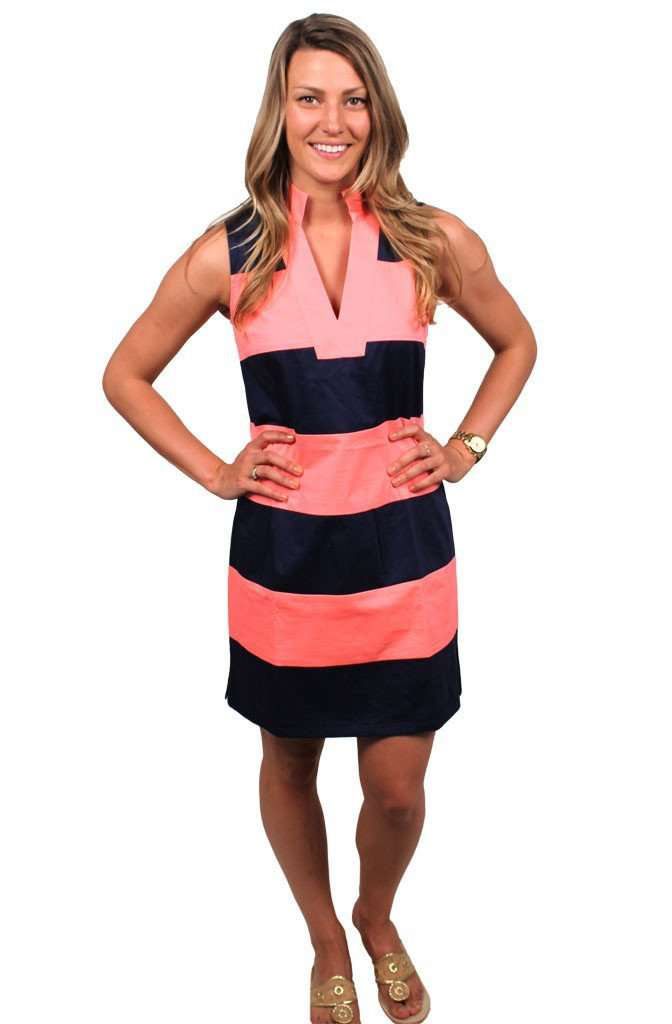Dresses - Shake It All Shift In Navy And Fiery Coral By Sail To Sable