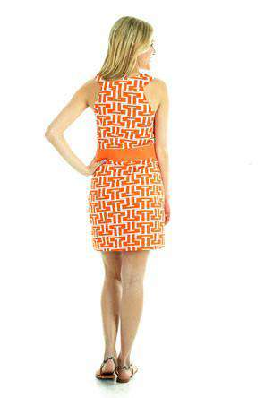 Steffi Shift Dress in Orange and White by Tracy Negoshian - Country Club Prep