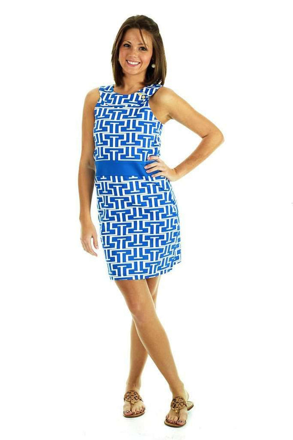 Steffi Shift Dress in Royal and White by Tracy Negoshian - Country Club Prep