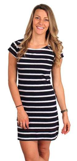 d93c407d877a Dresses - Striped Tee Shirt Dress In Navy And White By Hatley - FINAL SALE