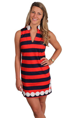 Dresses - Summertime Staple Sleeveless Dress In Peacoat Navy And High Risk Red By Sail To Sable