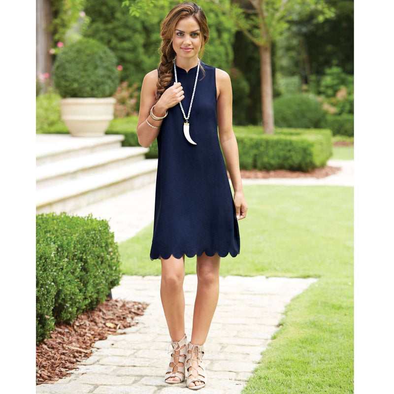 The Britain Scallop Dress in Navy by Mud Pie