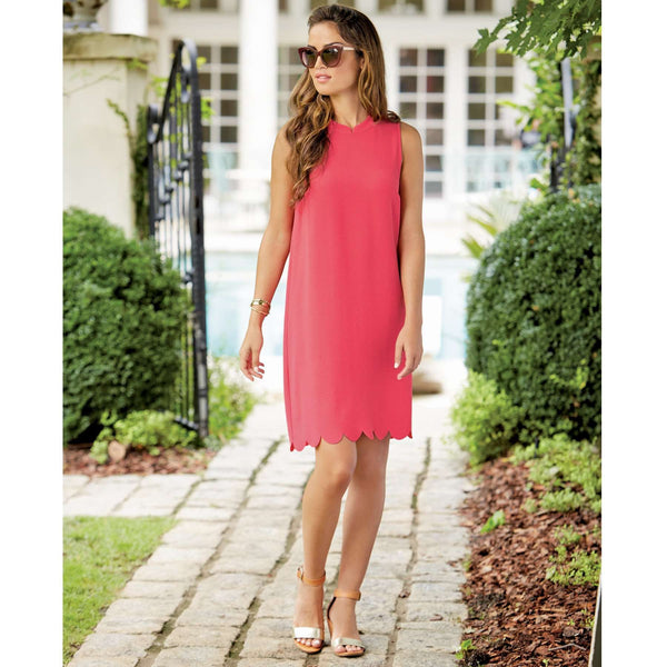 The Britain Scallop Dress in Pink by Mud Pie