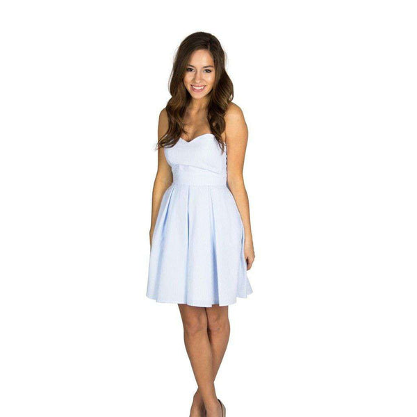 Dresses - The Corbin Dress In Light Blue Seersucker By Lauren James - FINAL SALE