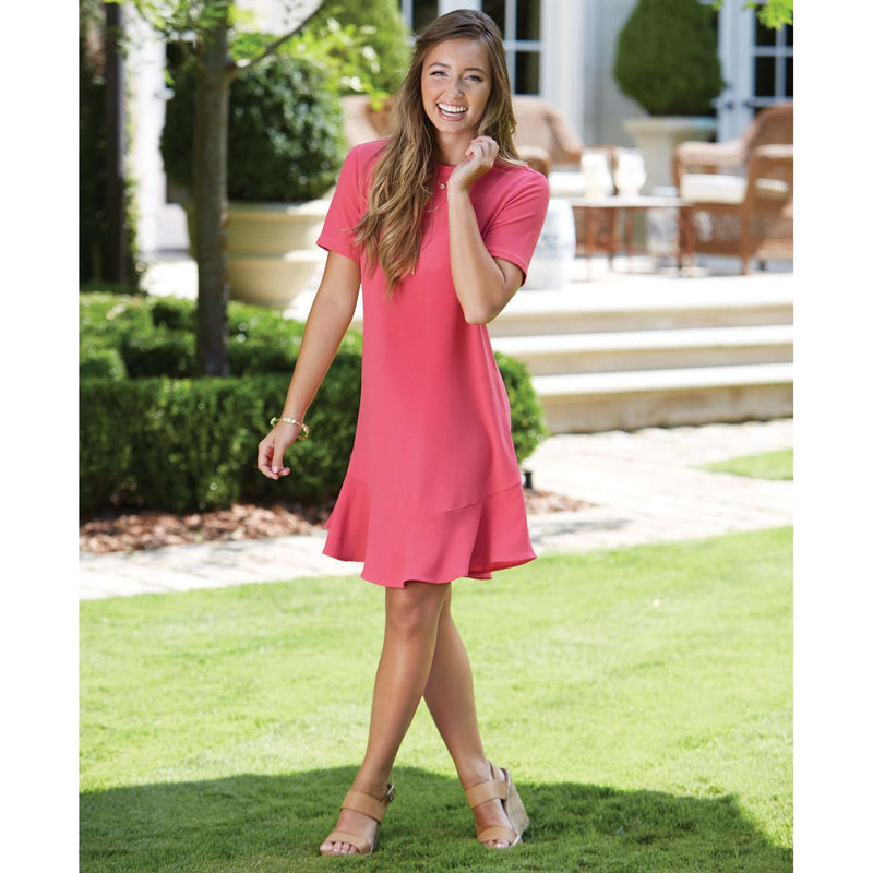 The Farrah Flounce Dress in Pink by Mud Pie