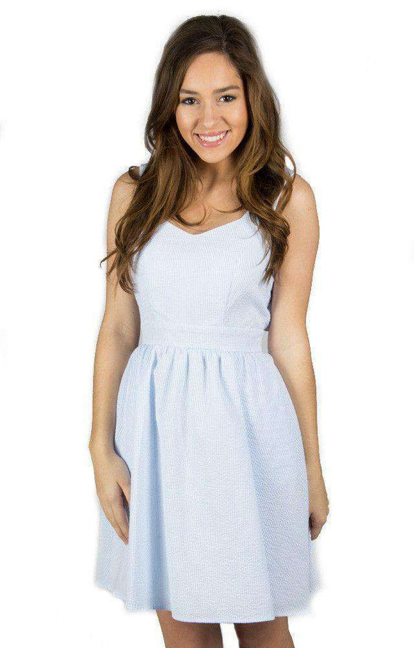 Dresses - The Garrison Seersucker Dress In Light Blue By Lauren James - FINAL SALE