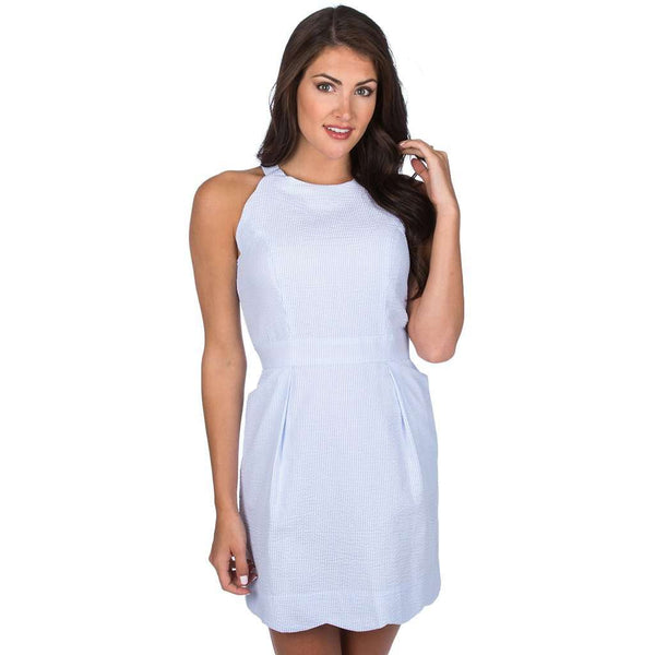 Dresses - The Landry Seersucker Dress In Light Blue By Lauren James