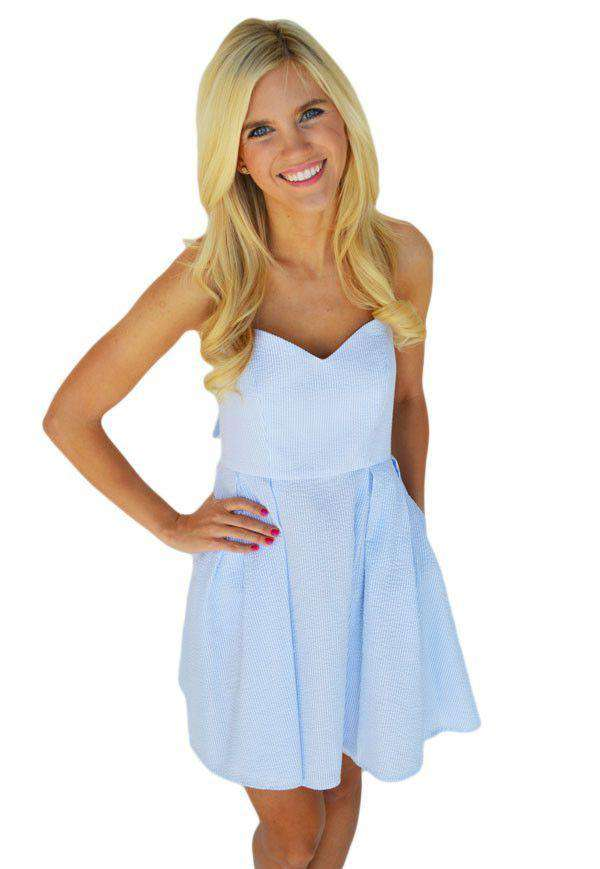Dresses - The Livingston Dress In Blue Seersucker By Lauren James - FINAL SALE