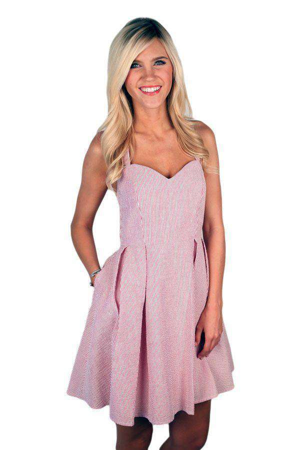 Dresses - The Livingston Dress In Crimson Seersucker By Lauren James - FINAL SALE