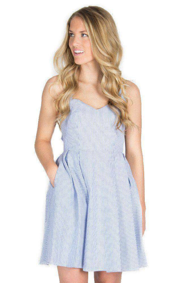 Dresses - The Livingston Dress In Navy Seersucker By Lauren James - FINAL SALE