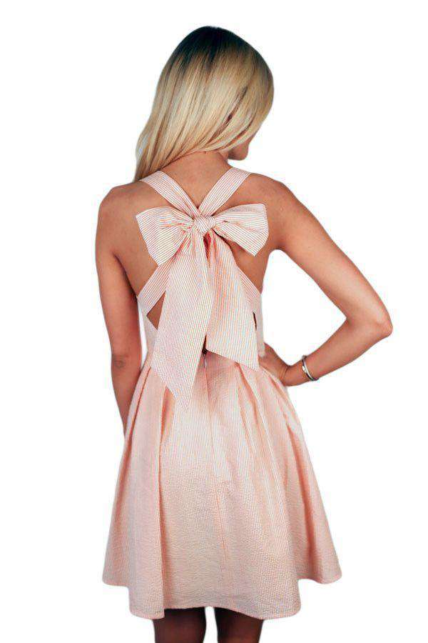 Dresses - The Livingston Dress In Orange Seersucker By Lauren James - FINAL SALE