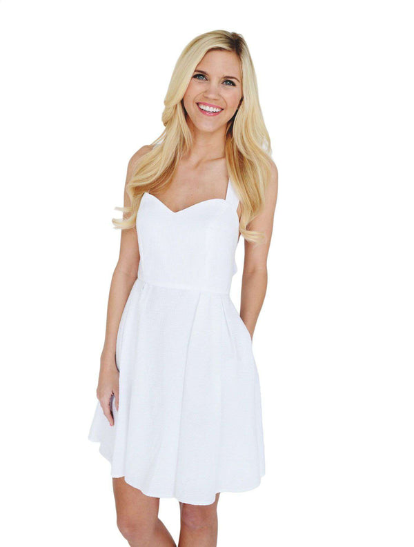 Dresses - The Livingston Dress In White Seersucker By Lauren James - FINAL SALE