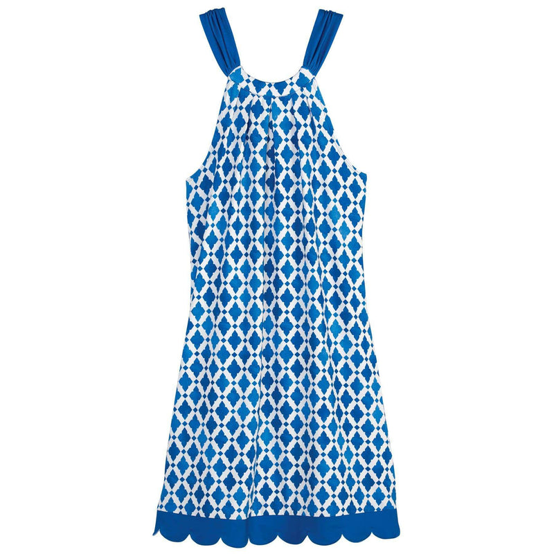 The Natalie Bow Tie dress in Blue Tile by Mud Pie