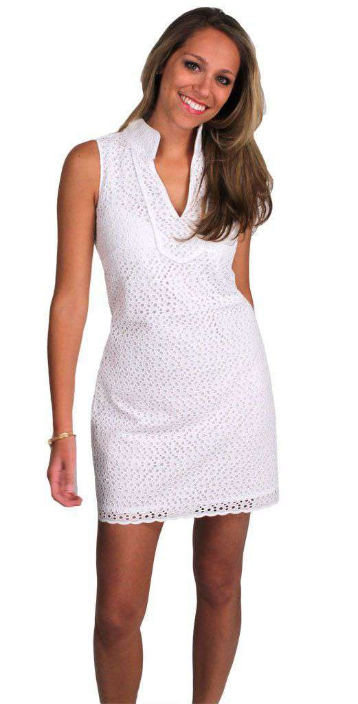 The Rope Eyelet Sleeveless Dress in White by Sail to Sable