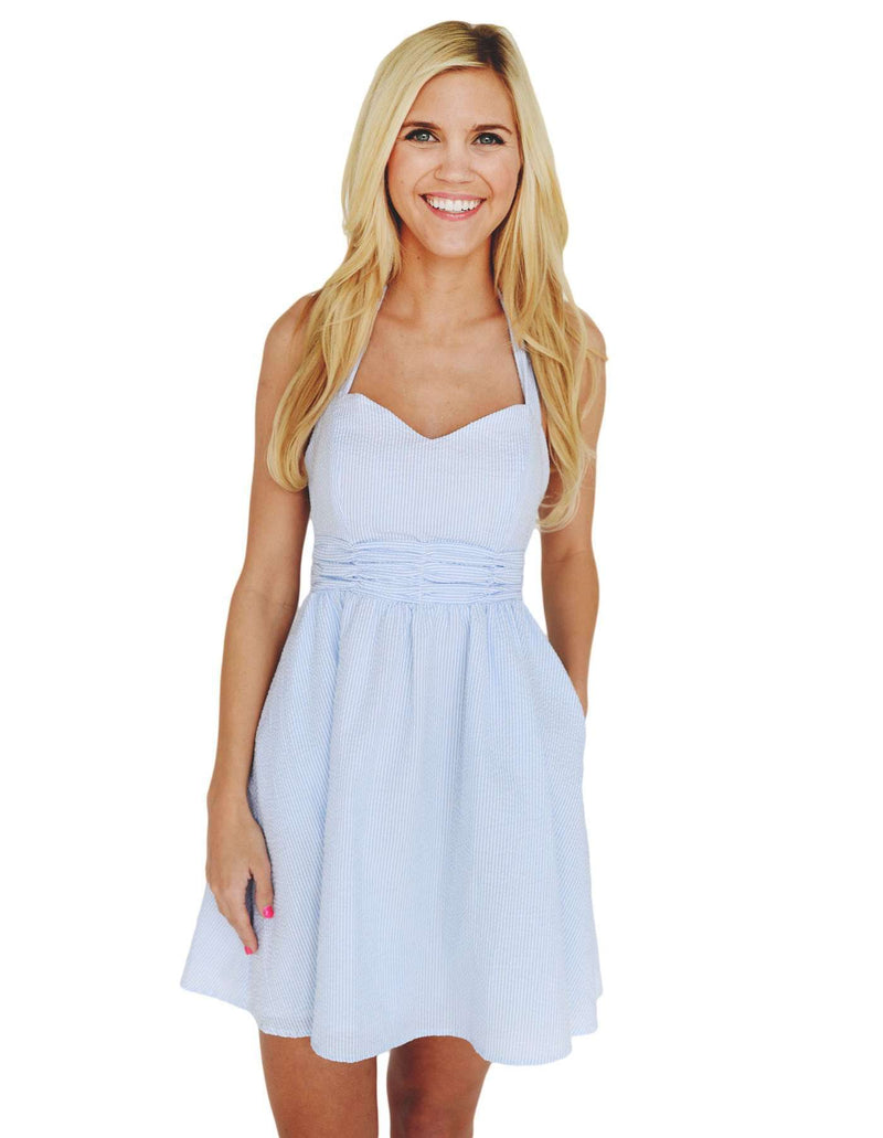 Dresses - The Stratton Dress In Blue Seersucker By Lauren James - FINAL SALE