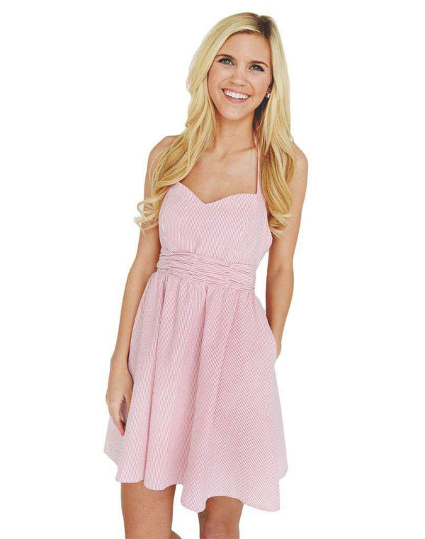 Dresses - The Stratton Dress In Coral Seersucker By Lauren James - FINAL SALE