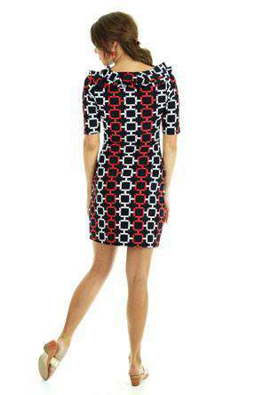 Tiffany Ruffle Neckline Shift Dress in Black and Red by Tracy Negoshian - Country Club Prep