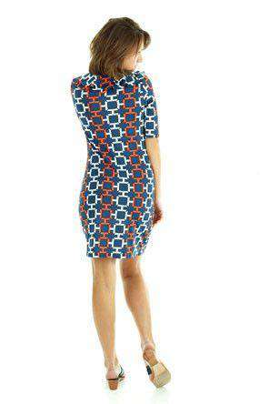 Tiffany Ruffle Neckline Shift Dress in Navy and Orange by Tracy Negoshian - Country Club Prep