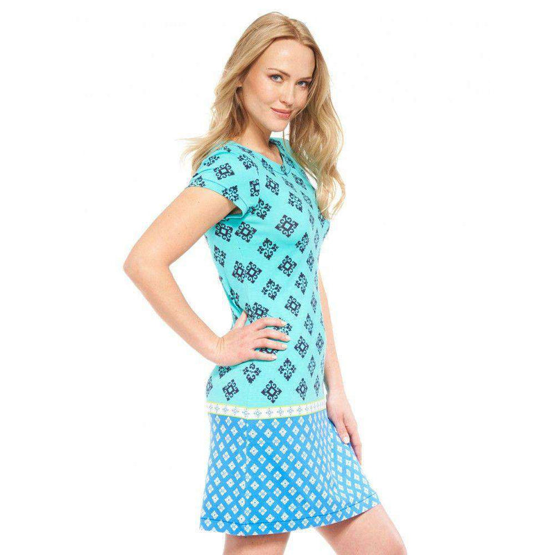 Turquoise Mini Aztec Tee Shirt Dress by Hatley