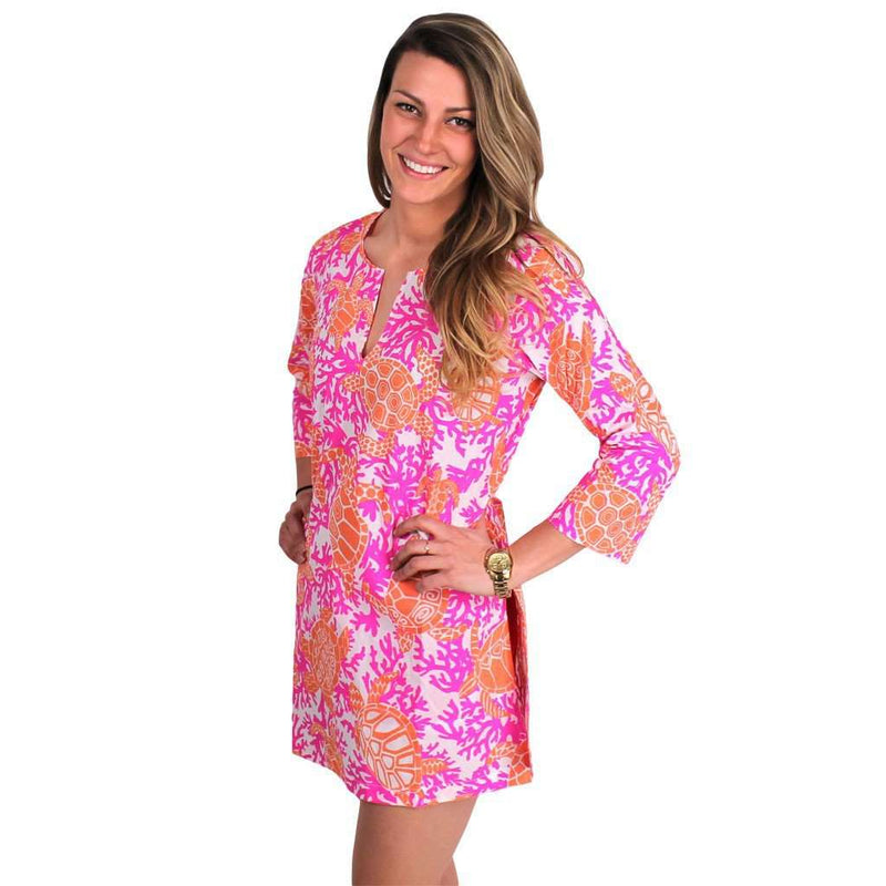 Dresses - Turtle Traffic Cotton Tunic In Pink And Orange By Gretchen Scott Designs - FINAL SALE