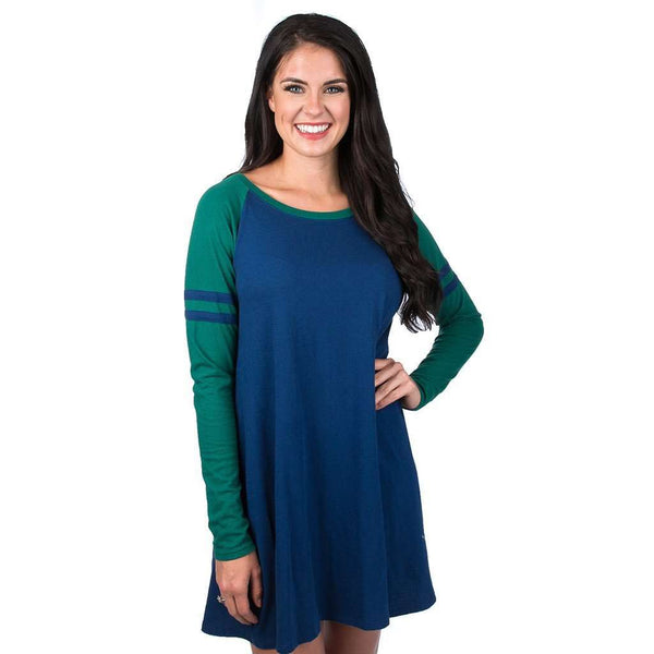 Dresses - Varsity Long Sleeve Dress In Estate Blue By Lauren James - FINAL SALE