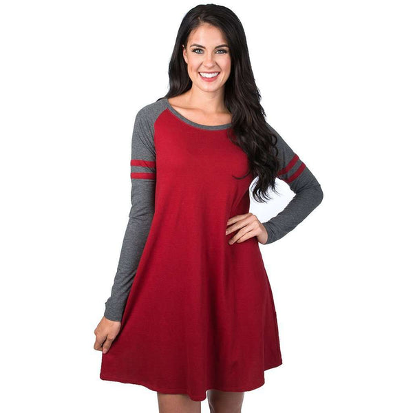 Dresses - Varsity Long Sleeve Dress In Red By Lauren James - FINAL SALE