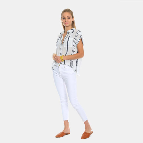 White Shell Stripe Top By True Grit (Dylan)