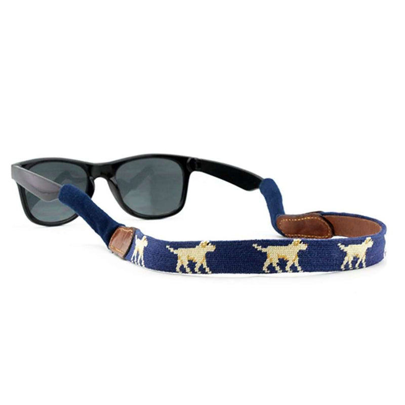 Yellow Lab Needlepoint Sunglass Straps in Classic Navy by Smathers & Branson