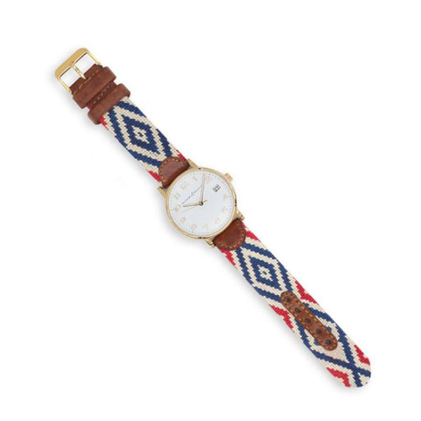 Smathers and Branson Gaucho Rojo Needlepoint Watch by Smathers & Branson