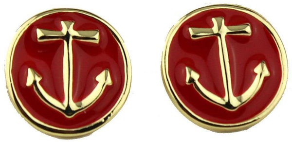 Anchor Earrings in Gold and Red by Fornash