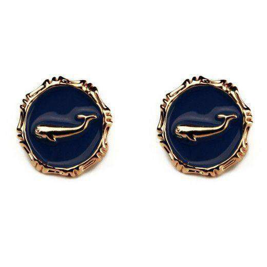 Atlantic Triton Earrings in Navy by Pink Pineapple