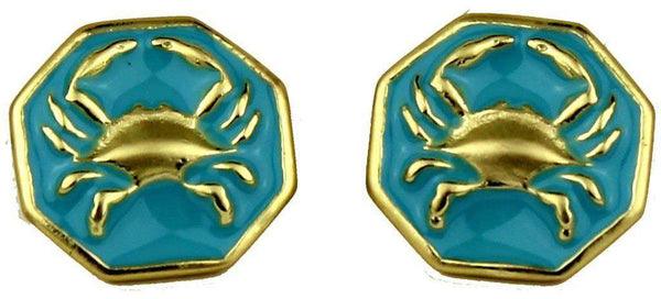 Crab Earrings in Gold and Aqua by Fornash