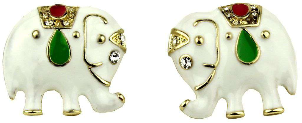 Earrings - Elephant Earrings In White By Fornash