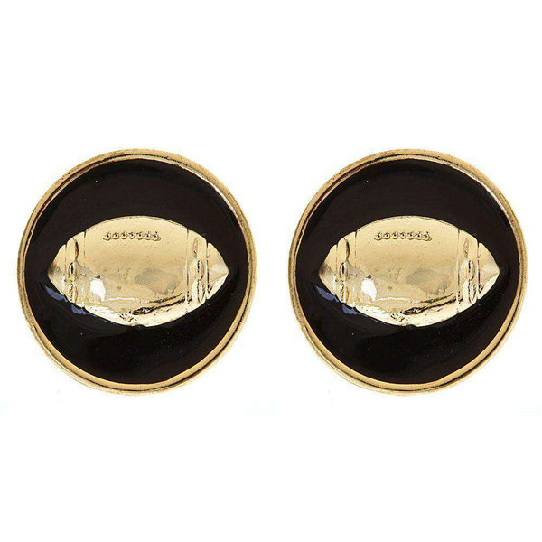Enamel Football Earrings in Gold and Black by Fornash