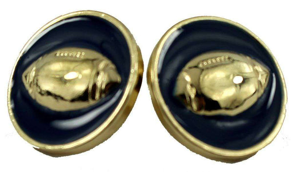 Enamel Football Earrings in Gold and Navy by Fornash - FINAL SALE