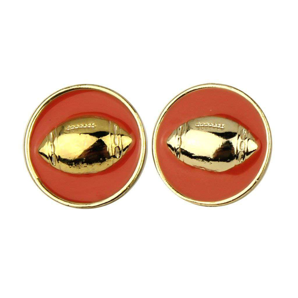 Earrings - Enamel Football Earrings In Gold And Orange By Fornash