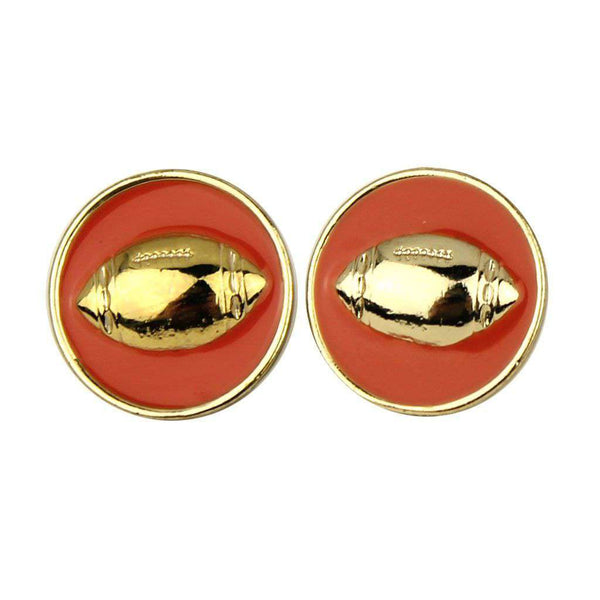 Enamel Football Earrings in Gold and Orange by Fornash