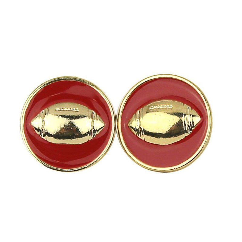 Earrings - Enamel Football Earrings In Gold And Red By Fornash