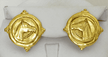 Equestrian Earrings in Gold by Susan Shaw
